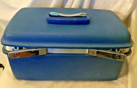 Vintage Samsonite Hardshell Train Case Blue Suitcase Luggage Makeup Cosmetics