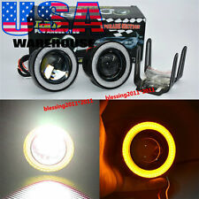 "2X 3.0"" High Power LED Fog Lights With Yellow COB Halo Angel Eye Rings For Cars"