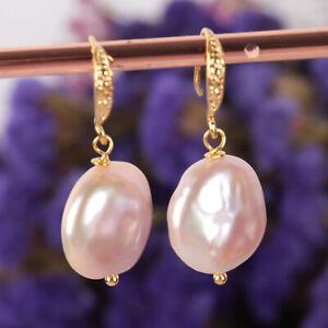 14-16MM Natural pink baroque pearl Earring 18k Ear Drop Wedding Women Fashion
