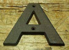 """Cast Iron Industrial LETTER A Sign Rustic Brown 5"""" tall Alphabet"""
