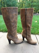 FOSSIL Brown Distressed Leather Tall High Heel Knee Boots Women Sz 6 Rockabilly