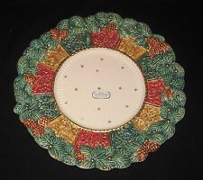 "RARE Fitz & Floyd DAMASK CHOP PLATE platter Pine Cones Gold Stars 11.5"" UNUSED"