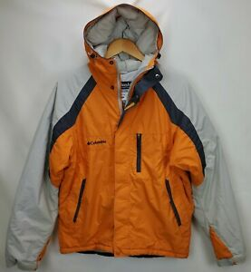 Columbia Mens Omni Tech Waterproof Insulated Jacket Coat Size Medium Orange Hood