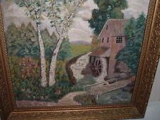 Antique Oil Painting Mill/Water Wheel Grist Mill Ben Bixler 1926 Folky