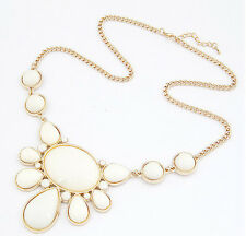 White Circle Gems Jewels Flower Gold Chain Statement Necklace - SHIPS FAST!