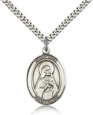 "Saint Rita Of Cascia Medal For Men - .925 Sterling Silver Necklace On 24"" Cha..."