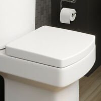 Modern White Square Toilet Seat Soft Closing Silent Fast-Release Chrome Hinges