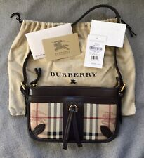 RARE!! Authentic Burberry Haymarket Check Small Genuine Leather Shoulder Bag