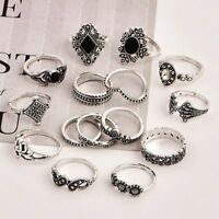 15PCS/Set Silver Punk Vintage Ring Womens Retro Geometry Finger Rings Boho Style