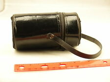 "Vintage Hard Camera Lens Case Cover With Strap and Zipper 4"" tall"