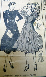 LOVELY VTG 1930s DRESS Sewing Pattern 11/29