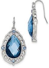 1928 Jewelry - Silver-tone Blue Epoxy & Glass Teardrop Dangle Earrings