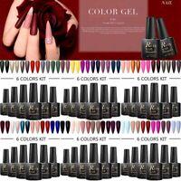 6Pcs RBAN NAIL 8ml Color UV Gel Polish Kits Pure Glitter Tips Varnish Manicure