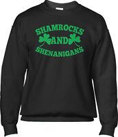 Shamrocks and Shenanigans Green St Patricks Day Party Saying Mens Sweatshirt