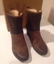 NEW CLASSIC UGG BROWN RENATTA LEATHER WEDGE SHORT  BOOTS SZ 10 Wm  SALE ❤️