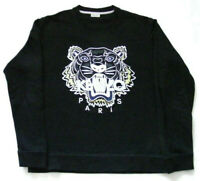 Kenzo Paris Mens Sweatshirt Jumper Black Tiger Long Sleeves Round Neck Size M