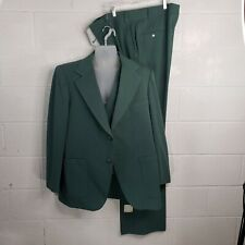 Vintage 1970s Retro Green Leisure Suit 3 Pc Polyester Double Knit Disco Nos tags