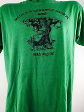 Vintage Metal Shirt Picnic Bear Green Screen Stars 50/50 Boho Rocker Punk 80s