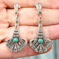 E737  Boucles d'oreilles Style Art Déco Argent 925 marcassites turquoises