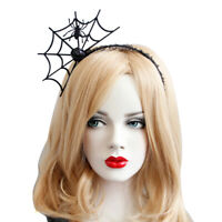 Headband Gothic Halloween Black Felt Spider Web Lace Crown Costume Ball Hairb wy