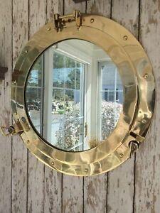 "12"" Brass Porthole Mirror Nautical Wall Decor Large Working Ship Cabin Window"