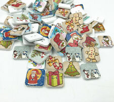 50X Square Mix Christmas tree snowman Wooden Buttons Scrapbooking Sewing 15mm