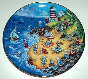 """FRANKLIN MINT Heirloom LE Collectible Plate 8 1/2"""" BEACH RETREAT"""