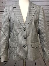 Chico's Size 1 Medium Gray White Striped Career Suit Jacket Blazer Chicos Lined