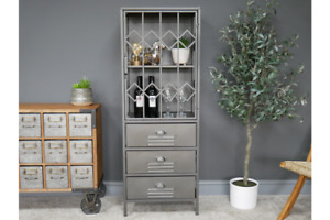 Industrial Display / Storage Cabinet Metal & Wood Storage Unit New