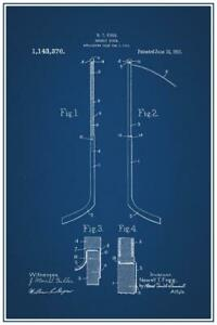 Hockey Stick 1915 Official Patent Diagram Laminated Dry Erase Sign Poster 24x36