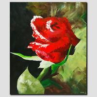 ORIGINAL Acryl Bild Abstrakt Malerei HANDGEMALT Gemälde Rose Kunst Modern Unikat