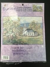 New Bucilla Counted Cross Stitch Kit #42761 Countryside White Church Embroidery