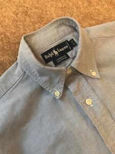 Vintage POLO by RALPH LAUREN Yarmouth Blue Oxford Cotton Shirt 15 / 33