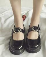 Women Casual Patent Leather Round Toe Black Heart Buckle Strap Flats Lolita Shoe