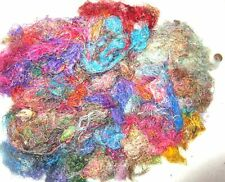 1 oz Sari Silk Yarn Fiber -Sari Silk Waste Threads Mixed Media Felting Spinning
