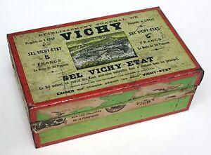 SEL VICHY-ETAT, Blechdose antik für 50 Mineralsalz Päckchen, Frankr. um 1900