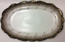 BAVARIA EBERTHAL FINE CHINA 2786W OVAL SERVING PLATTER~PLATE~DISH~BROWN~GOLD~14""