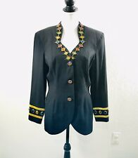 Vintage 90s Nina K Black Gold Rhinestone Blazer Jacket Womans Sz L Lined Button