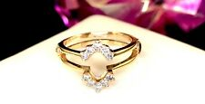 DAZZLING 14K YELLOW GOLD 1/6 CT. T.W. DIAMOND RING GUARD ENHANCER SIZE 7.75-8