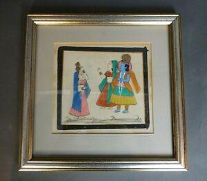 Indian Hindu Persian Mughal Painting On Silk Three Figures Vintage Framed JEKL