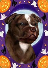 Staffordshire Terrier Chocolate & White Halloween Howls Flag