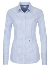 Seidensticker Bluse blau weiß gestreift Schwarze Rose bügelfrei Gr. 44 Slim Line