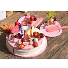 Wooden Pretend Role Play Food Birthday Cake Kitchen Cooking Kids Cutting Toy