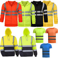 Hi Viz Vis High Visibility Hoodie Jacket Men Safety Sweatshirt Jacket Coat Tops