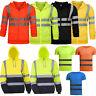 Hi Viz Vis High Visibility Hoodie Jacket Men Safety Sweatshirt Jacket Coat Tops