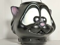 """Vintage BLACK CAT Halloween Blow Mold Trick or Treat Candy Bucket  7"""""""