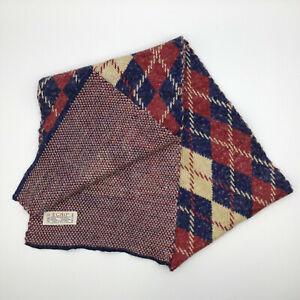 Vtg Echo Made In Japan Acrylic Wool Angora Argyle Scarf Red White Blue