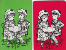 Vintage Swap/Playing Cards - 2 SINGLE-  CAFE KIDS - AT TABLE