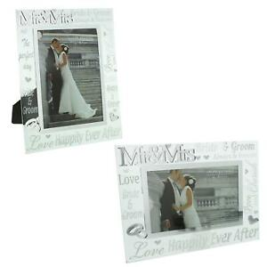 Mr & Mrs Glass Photo Frame with Mirror & Glitter Letters