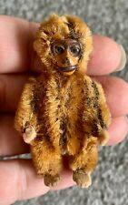 """Antique Miniature Schuco Tiny Jointed 2.5"""" Cinnamon Mohair Monkey NICE NR !"""